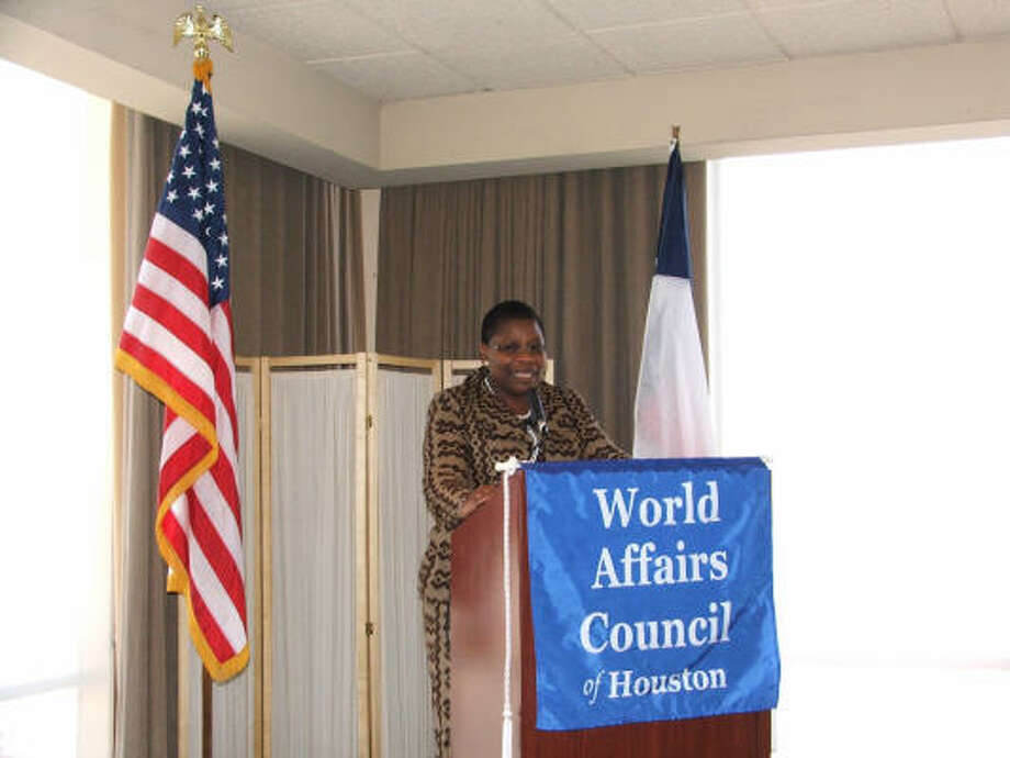 """OBIAGELI EZEKWESILI: """"Companies in the U.S. ignored the promise of telecom in Africa, and they missed out. In my country, Nigeria, there were only 500,000 telephone lines five years ago. Today there are 60 million. South African companies got that business."""" Photo: World Affairs Council Of Houston"""