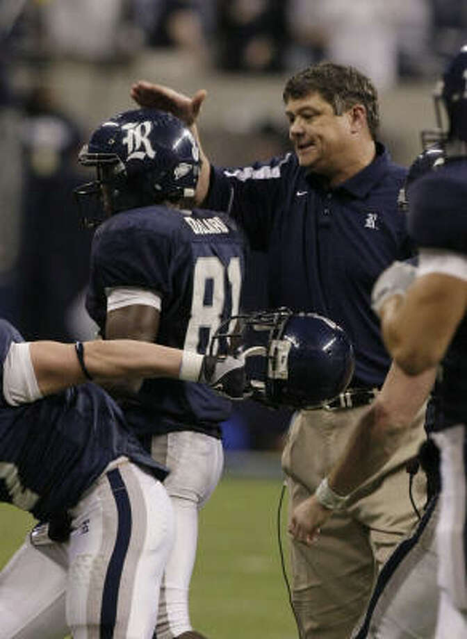 Rice coach David Bailiff, right, and the Owls have a bright future based on the foundation Jarett Dillard, left, and Chase Clement helped build. Photo: Brett Coomer, Chronicle
