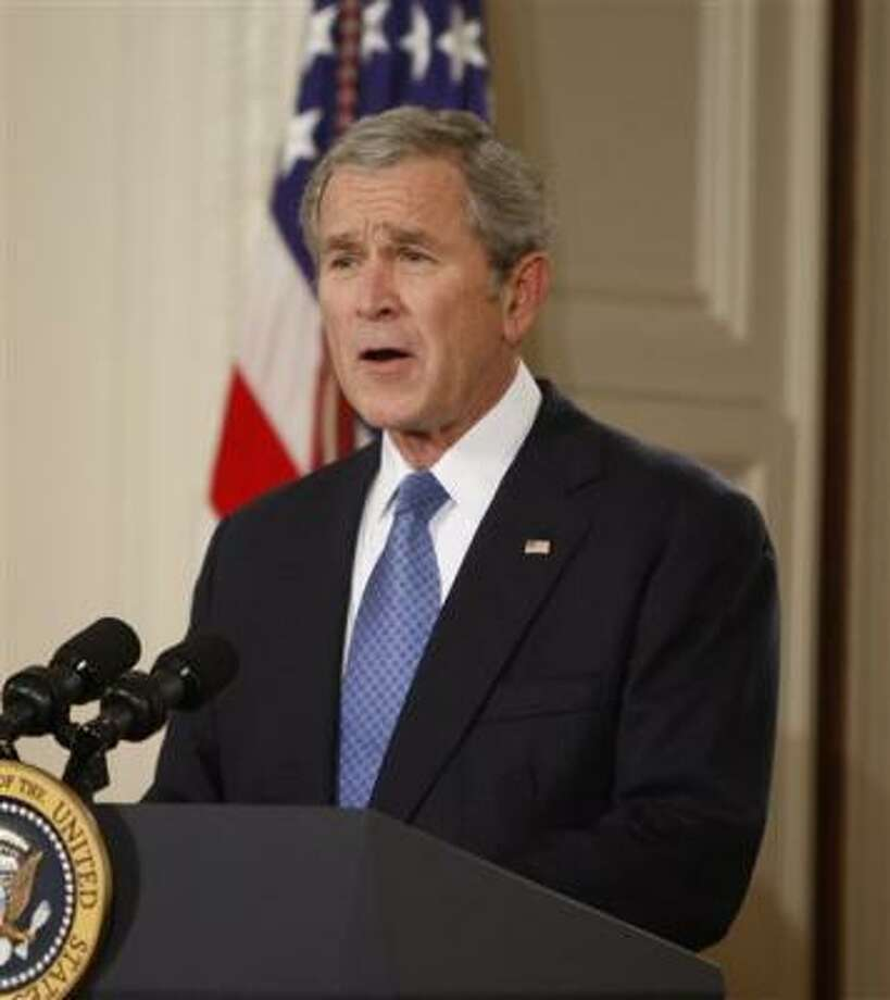 "President George W. Bush gives his farewell address to the nation, Thursday, Jan. 15, 2009, in the East Room of the White House. Bush declared the United States will ""never tire, never falter and never fail."" Photo: Ron Edmonds, AP"