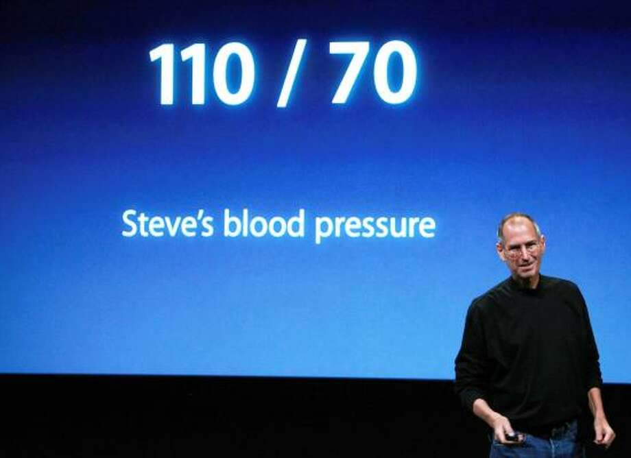 Apple CEO Steve Jobs jokes about his health at the introduction Tuesday of the company's updated line of laptop computers. Photo: JUSTIN SULLIVAN, GETTY IMAGES