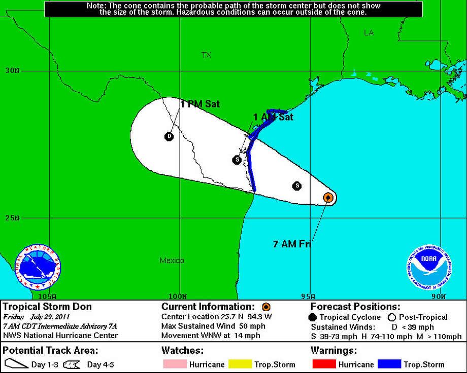 Tropical Storm Don is expected to hit the Corpus Christi area Friday. Graphic provided by the National Hurricane Center