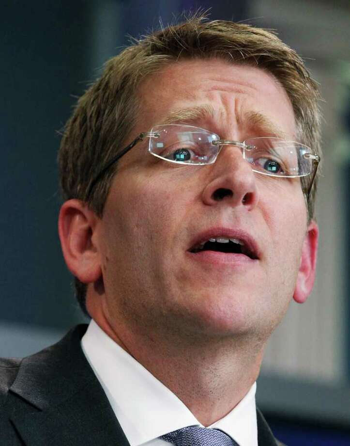 White House Press Secretary Jay Carney speaks to reporters during a press briefing in the Brady Briefing Room of the White House in Washington, Wednesday, July 27, 2011. Photo: AP