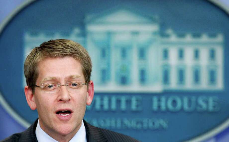White House Press Secretary Jay Carney speaks to reporters during a press briefing in the Brady Briefing Room of the White House in Washington, Tuesday, July 26, 2011. Photo: AP