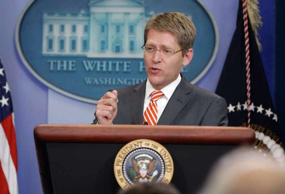 White House Press Secretary Jay Carney briefs reporters in the James Brady Press Briefing Room of the White House in Washington, Tuesday, July 5, 2011, after President Barack Obama spoke about debt ceiling negotiations. Photo: AP
