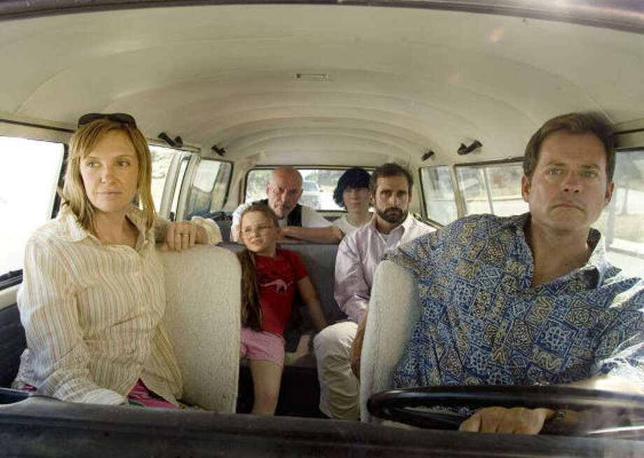 The Hoover family (Toni Collette, from left, Abigail Breslin, Alan Arkin, Paul Dano, Steve Carell, and Greg Kinnear) hits the road in search of a beauty pageant, in Little Miss Sunshine. Photo: Fox Searchlight Pictures