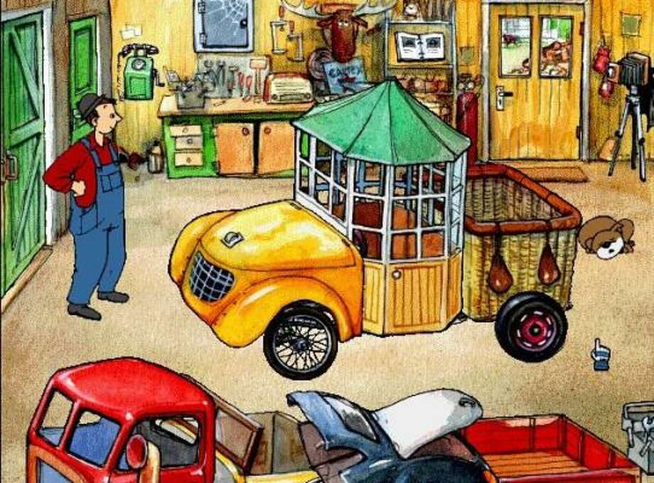 A screen shot from Gary Gadget: Building Cars finds Gary in his workshop, where kids construct cars from an oddball assortment of parts, found on a junk piles in his salvage yard.