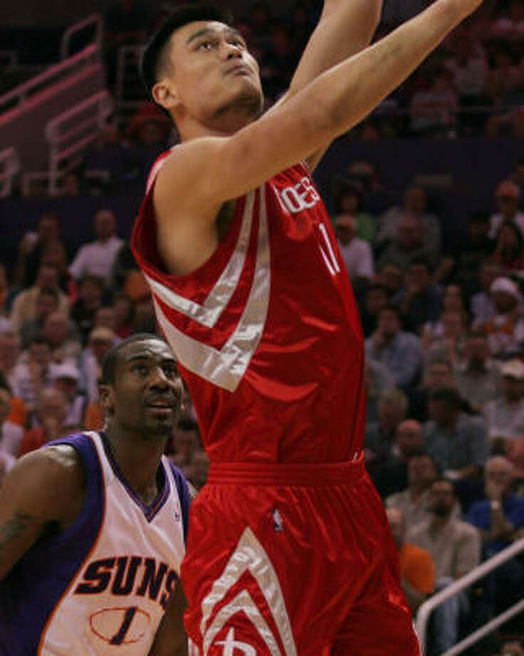 Yao Ming misses a layup in the first quarter. He had his worst game since coming back from a broken leg. Photo: Roy Dabner, AP