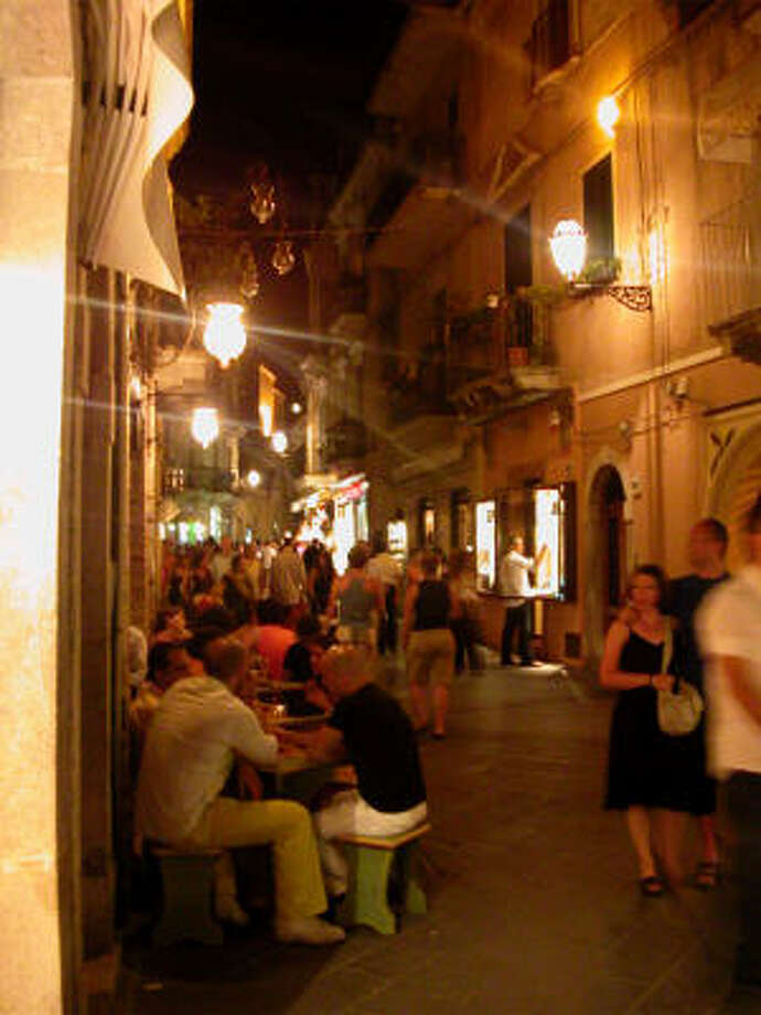 A Taormina street at night. Photo: Arthur Frommer, King Features