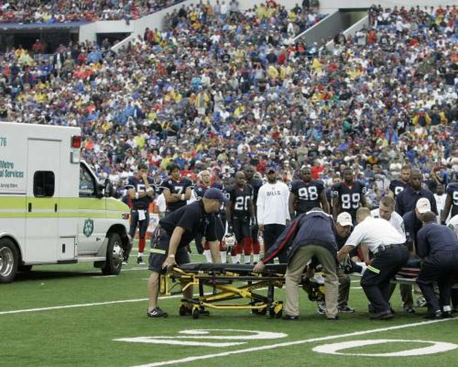 Kevin Everett is prepared to be transported from Rich Stadium in Orchard Park, N.Y. Photo: David Duprey, AP