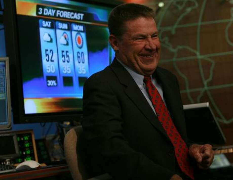 Dr. Neil Frank, in the KHOU station on Thursday, says he is grateful that, despite his lack of formal broadcast training, viewers were patient with him when he started at KHOU 20 years ago. Photo: MAYRA BELTRÁN, CHRONICLE