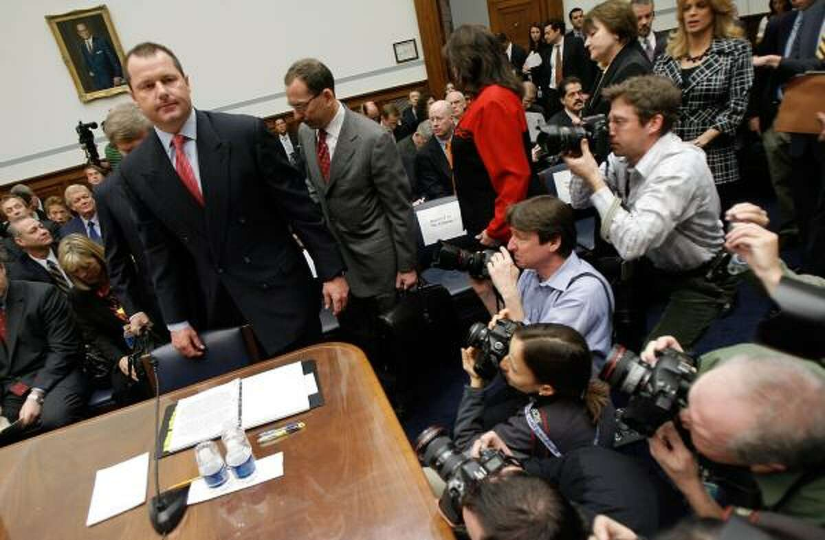 Roger Clemens appears before Congress in February.