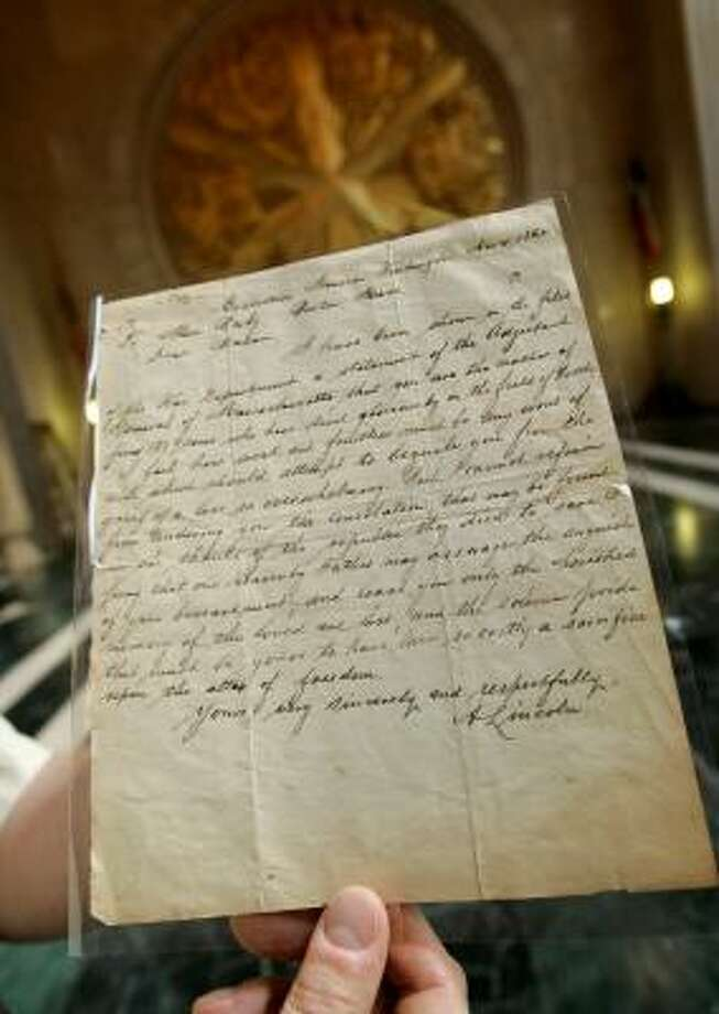 The Bixby Letter was copied many times when it came out, so not everyone is convinced the Dallas item is the original. Photo: TONY GUTIERREZ, ASSOCIATED PRESS