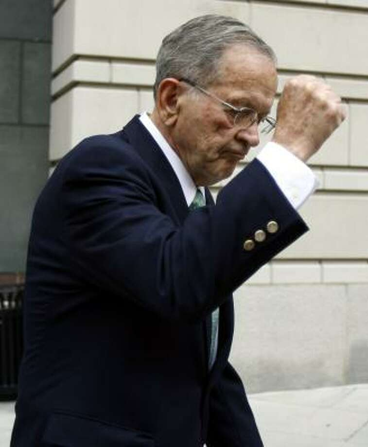 Sen. Ted Stevens, R-Alaska,leaves the federal court in Washington on Thursday after testifying in his trial. Photo: JOSE LUIS MAGANA, ASSOCIATED PRESS