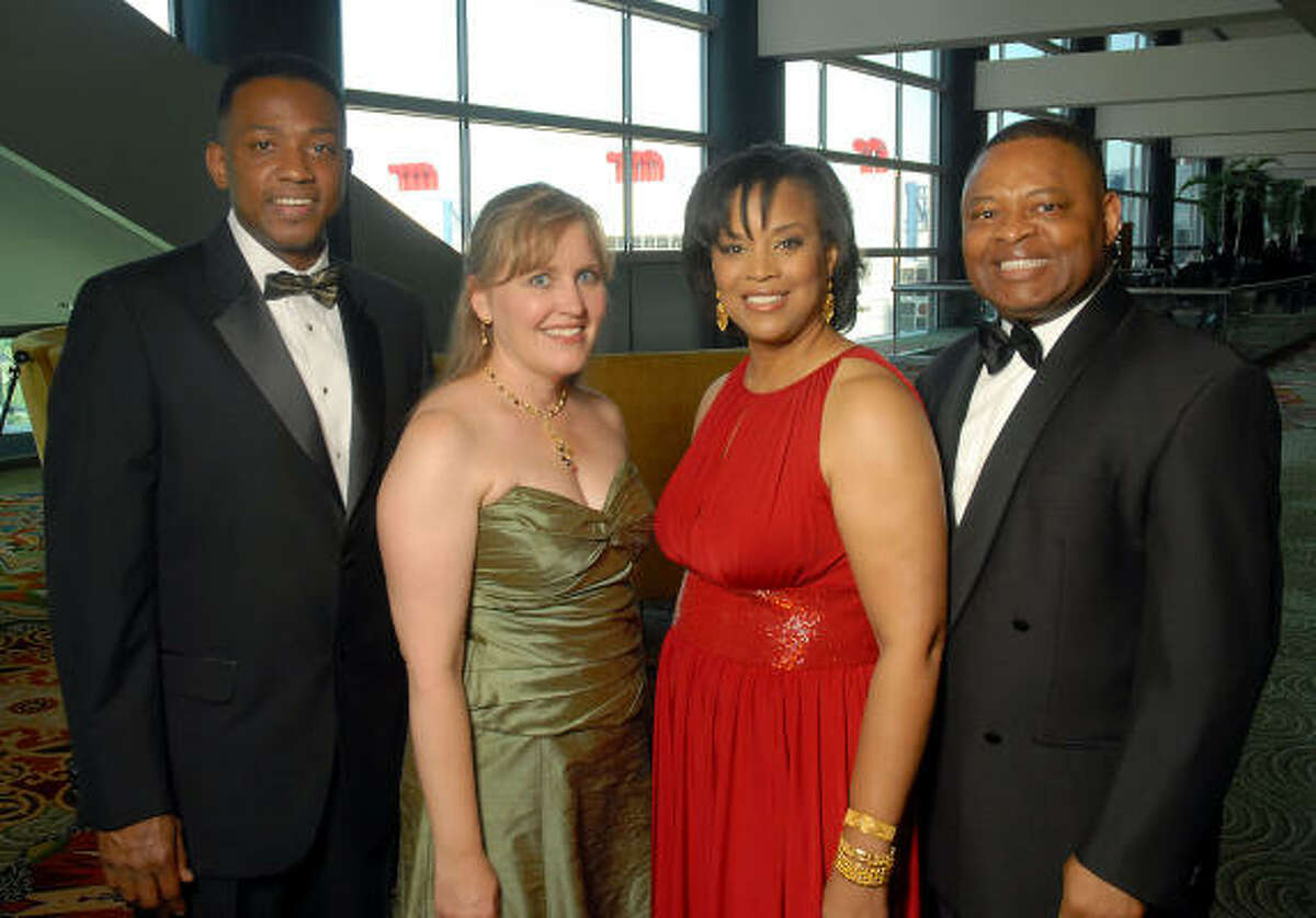 Houston Area Urban League gala chairs Tony Speller, from left, and Jamie J. Greenheck joined honorary chairs Eileen and Kase Lawal at the Equal Opportunity Day gala at the Hilton Americas-Houston.