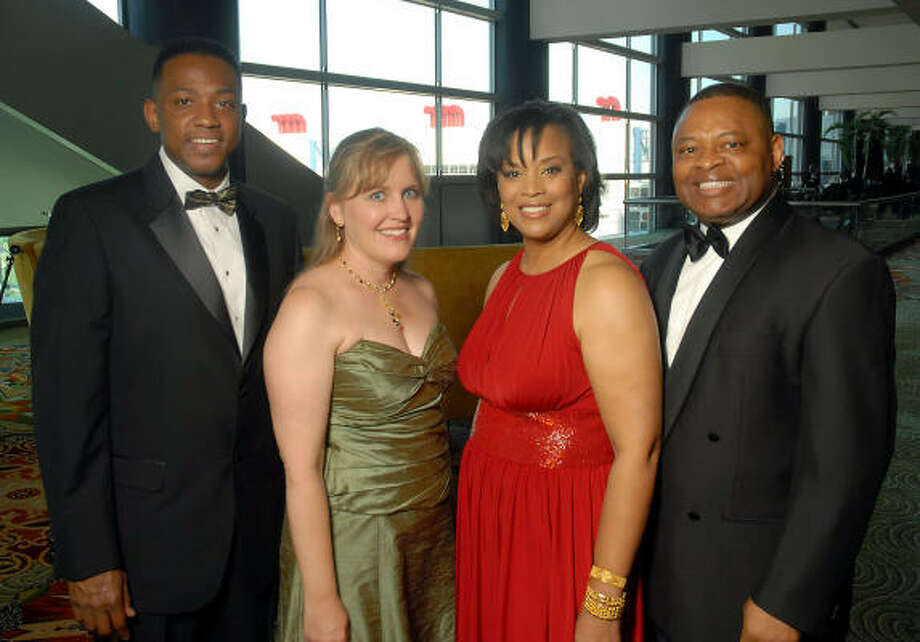 Houston Area Urban League gala chairs Tony Speller, from left, and Jamie J. Greenheck joined honorary chairs Eileen and Kase Lawal at the Equal Opportunity Day gala at the Hilton Americas-Houston. Photo: Dave Rossman, For The Chronicle