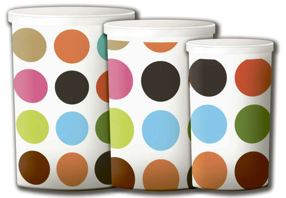 Colorful dotted storage containers. Photo: French Bulldog