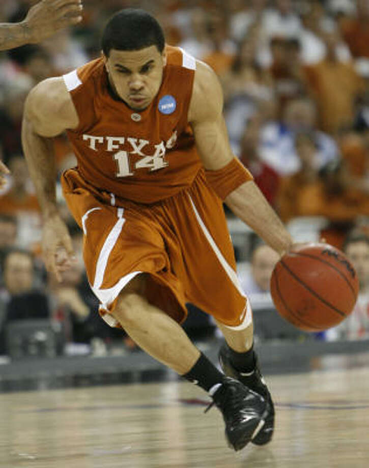 Texas' D. J. Augustin is projected by most draft sites as a late first-round pick if he decides to leave school early. Augustin would be allowed to work out for NBA teams at his own expense. Photo: Kevin Fujii, Houston Chronicle