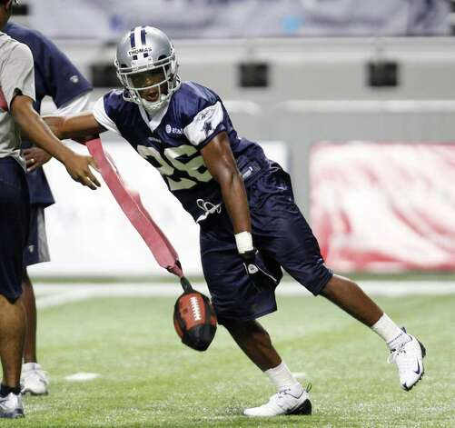 Dallas Cowboys' Josh Thomas during a practice, Thursday, July 28, 2011, in San Antonio. Photo: AP