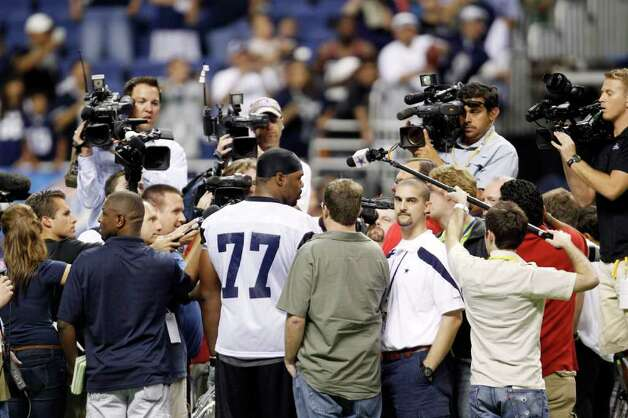 Dallas Cowbys' Tyron Smith (77) talks with the media following a practice, Thursday, July 28, 2011, in San Antonio. Photo: AP