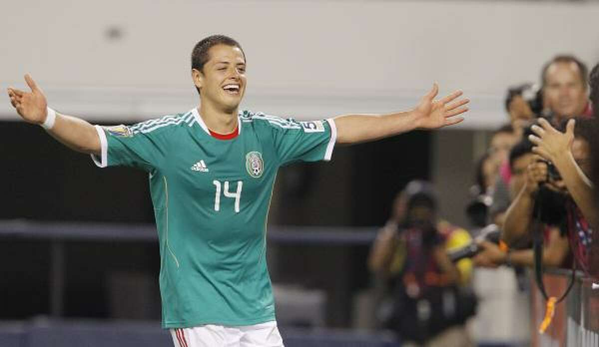 Mexico striker Javier Hernandez was the man of Sunday's Gold Cup match against El Salvador in Arlington, scoring three goals to lead Mexico to a dominant victory.