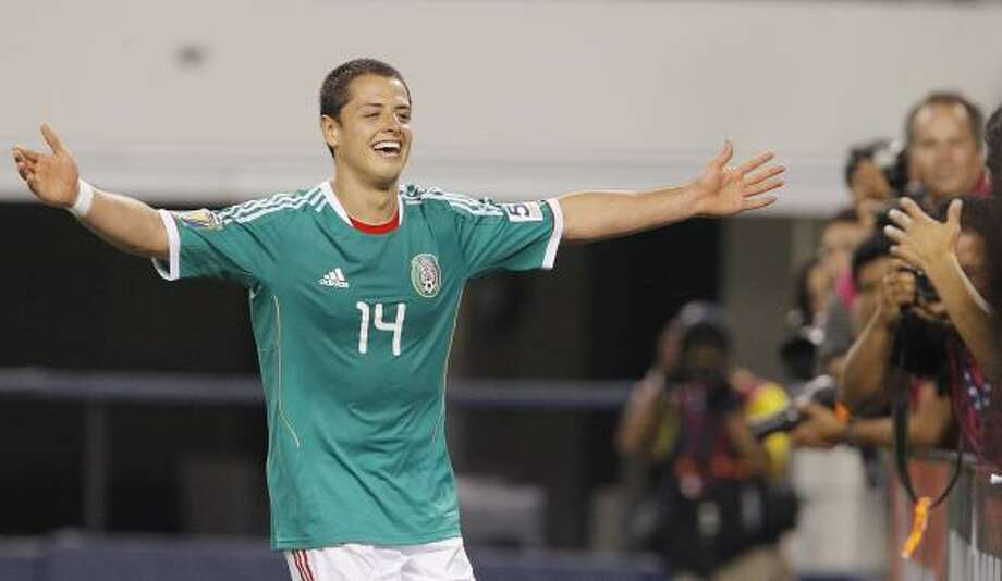 Mexico striker Javier Hernandez was the man of Sunday's Gold Cup match against El Salvador in Arlington, scoring three goals to lead Mexico to a dominant victory. Photo: Brandon Wade, Associated Press
