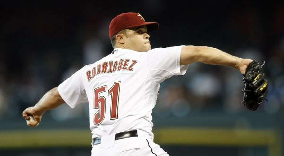 Astros pitcher Wandy Rodriguez threw for seven innings, giving up three runs on 10 hits. He struck out four.