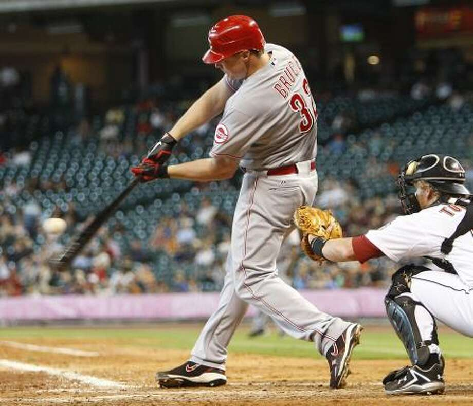 Jay Bruce of the Cincinnati Reds grounds out to first base. Photo: Bob Levey, Getty