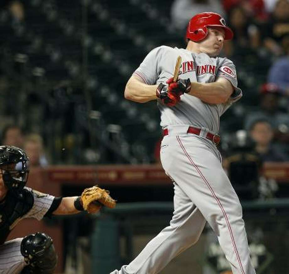 Reds outfielder Jay Bruce swings a broken bat in the eighth inning. Photo: Johnny Hanson, Chronicle