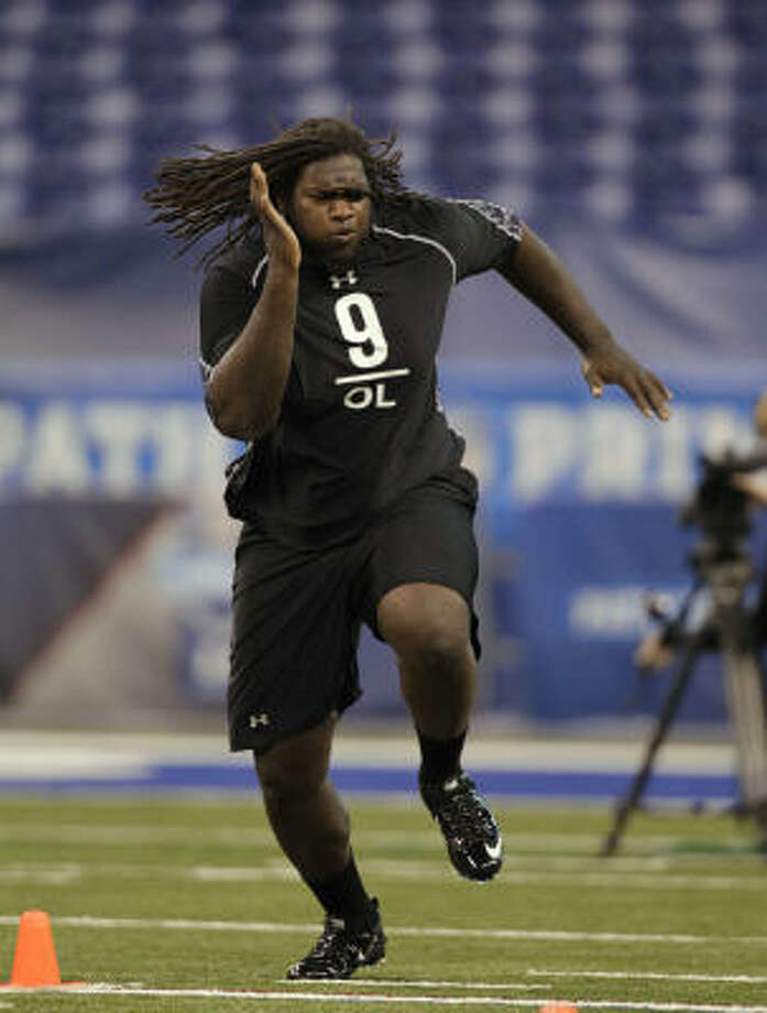 Seattle Seahawks   They drafted an offensive tackle in the first round for the second season in a row. James Carpenter (pictured) was the biggest reach of the first round. After Carpenter, they added John Moffitt because they've got a hole at guard. Grade: D Photo: Michael Conroy, AP