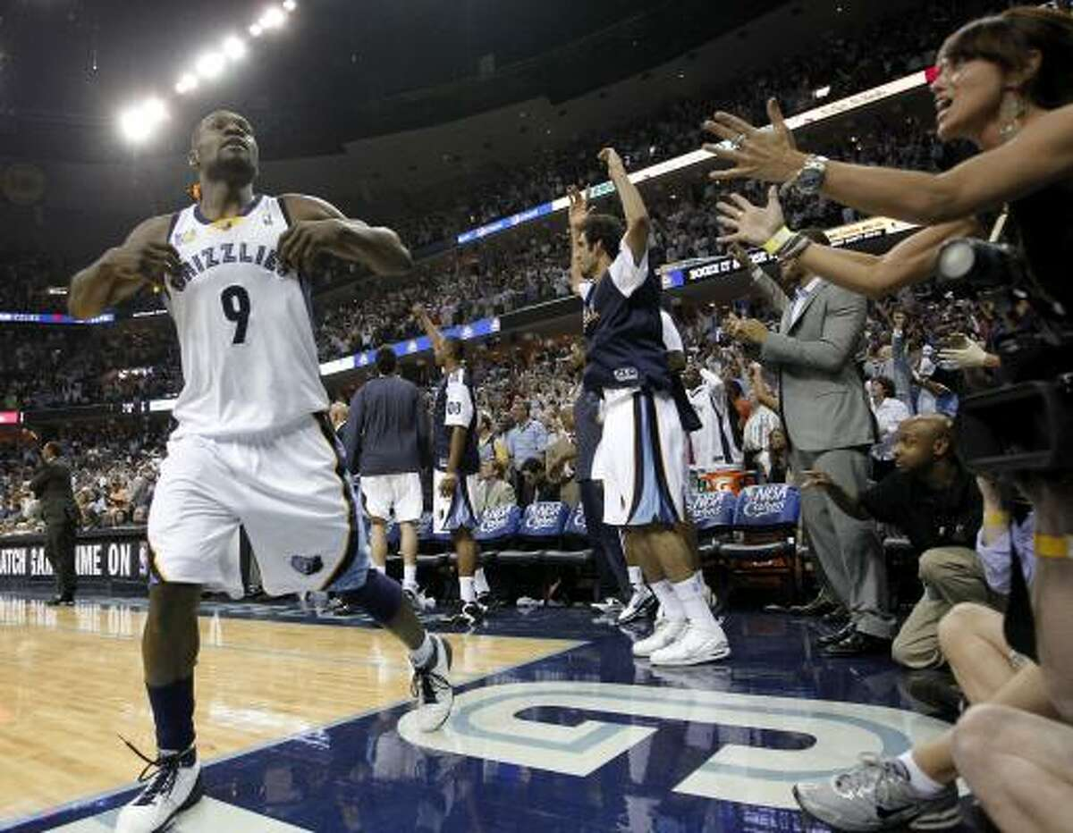 Western Conference Game 6: No. 8 Grizzlies 99, No. 1 Spurs 91 (Grizzlies win 4-2) Grizzlies guard Tony Allen (9) celebrates in the closing seconds of Friday's game against the Spurs in Memphis, Tenn. The Grizzlies held off the Spurs in Game 6 to complete a stunning first-round upset.