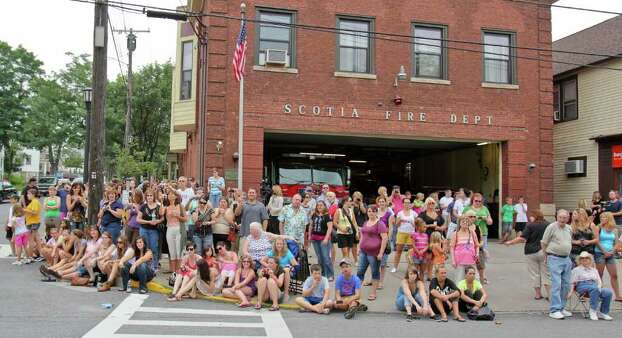 "Crowds of people positioned themselves on the streets of Scotia, eager to catch a glimpse of actor Ryan Gosling, during the shooting of ""The Place Beyond the Pines"" on Friday, July 29, 2011. (Erin Colligan / Special To The Times Union)"