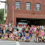 """Crowds of people positioned themselves on the streets of Scotia, eager to catch a glimpse of actor Ryan Gosling, during the shooting of """"The Place Beyond the Pines"""" on Friday, July 29, 2011. (Erin Colligan / Special To The Times Union)"""