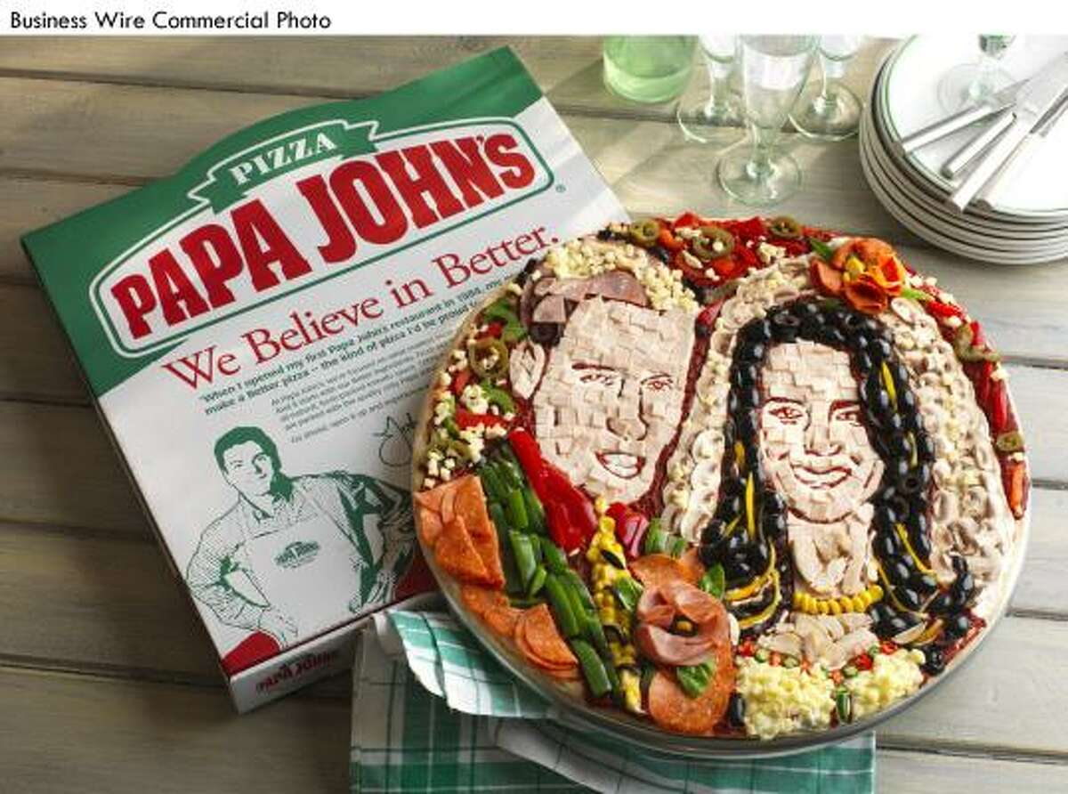 Just when you thought that the Royal Couple had it all... Papa John's commissioned a food artist in the United Kingdom to create a unique mosaic pizza portrait of Prince William and Kate Middleton to celebrate their marriage on April 29. Kate's veil is made from mushrooms and her dress from cheese, while William's morning suit consists of salami and peppers.