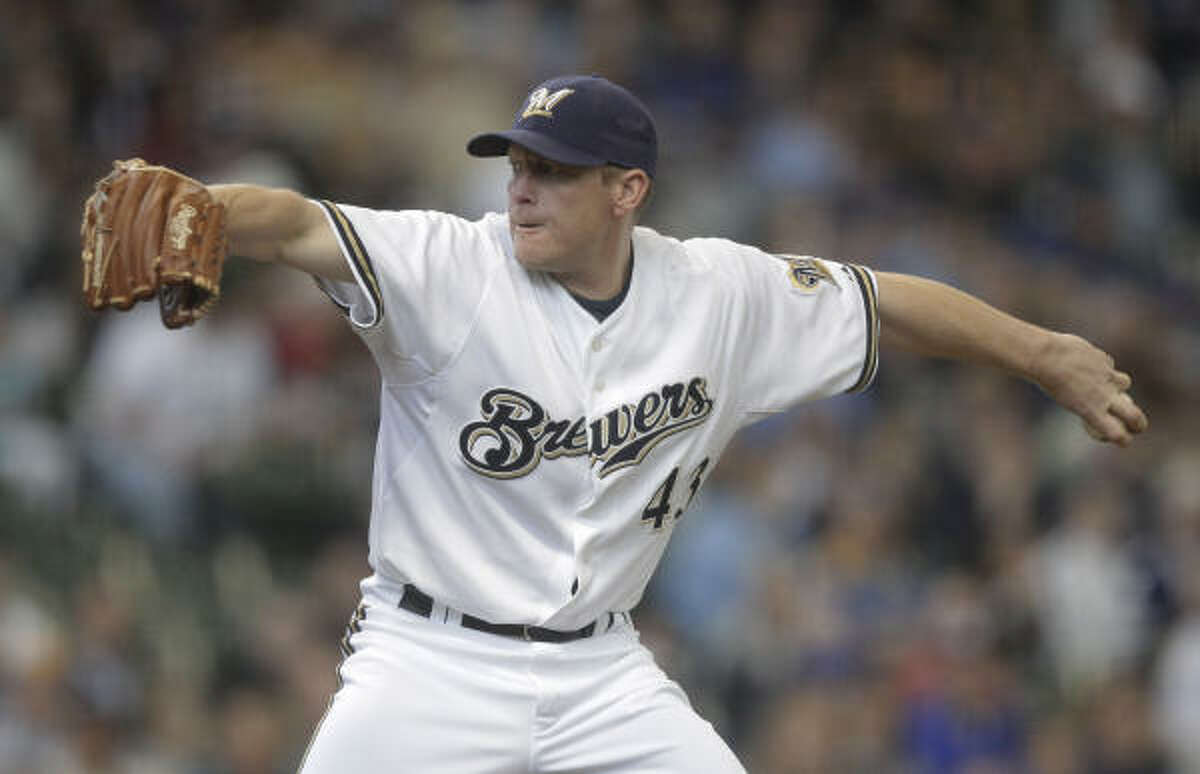 Brewers pitcher Randy Wolf held the Astros to one run in eight innings.