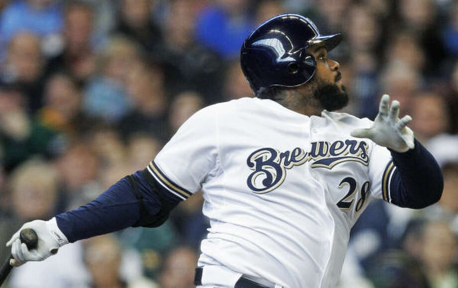 Brewers first baseman Prince Fielder watches his RBI triple during the third inning. Photo: Morry Gash, AP