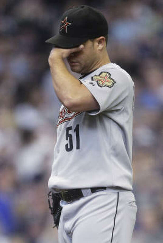 Astros starting pitcher Wandy Rodriguez allowed three runs in the third on the way to his third loss of the season. Photo: Morry Gash, AP