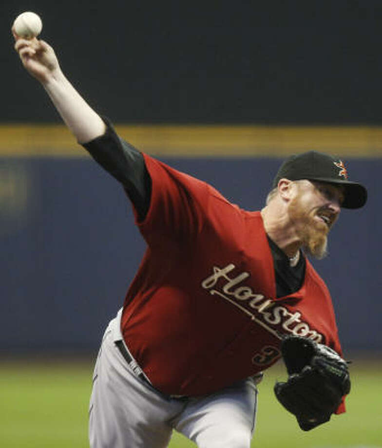 Astros starter Brett Myers gave up five runs on 10 hits in 6 1/3 innings. Photo: Morry Gash, AP