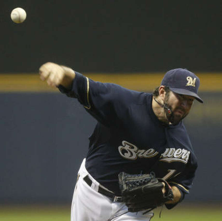 Brewers starter Shaun Marcum allowed four runs in six innings. Photo: Morry Gash, AP