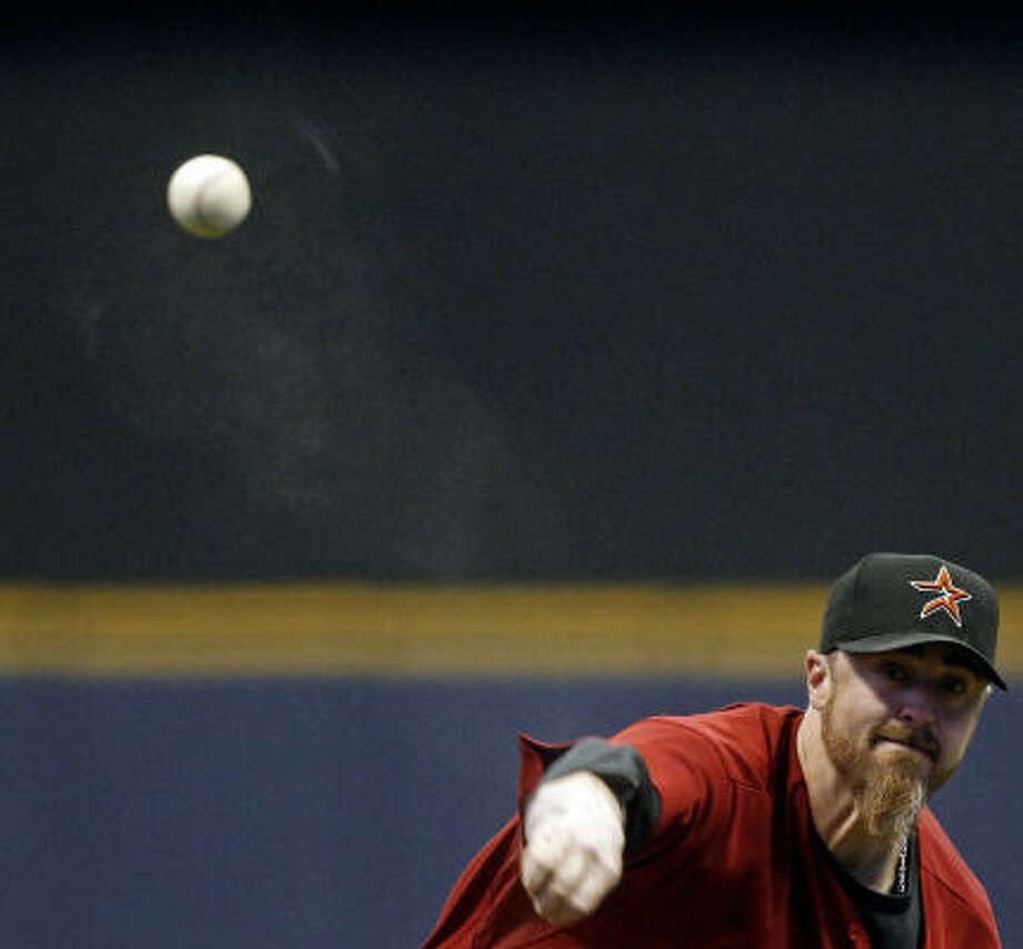 Astros starter Brett Myers throws during the first inning. Photo: Morry Gash, AP