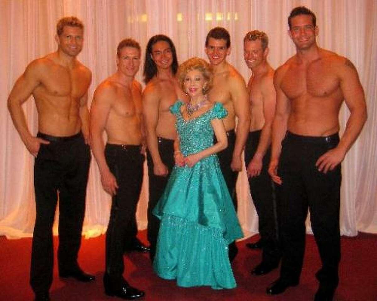 Margaret Alkelk Williams with the go-go dancers