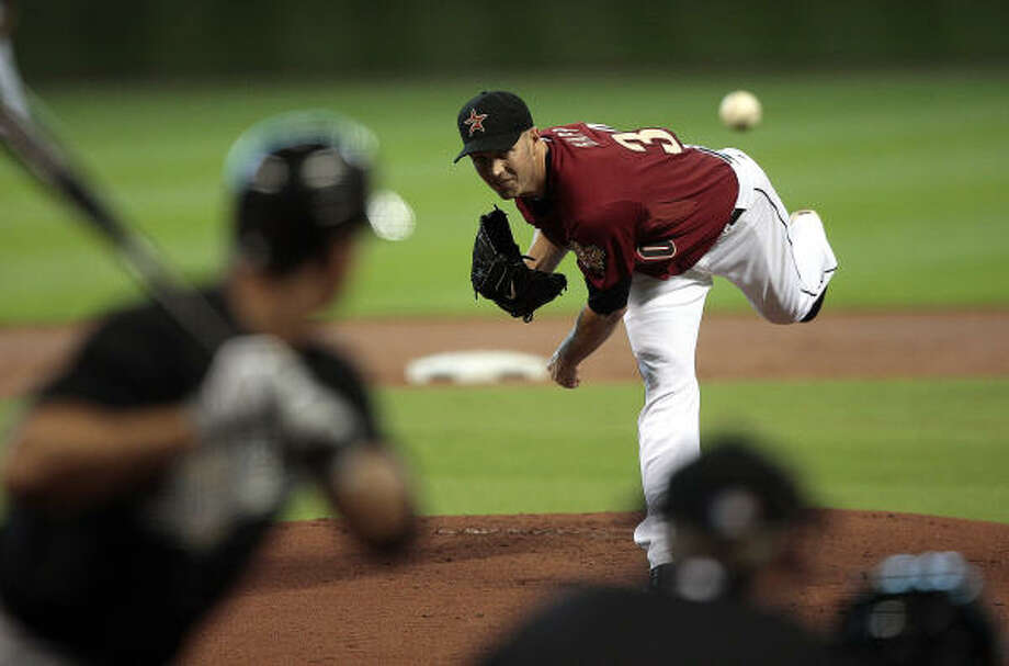 April 10: Astros 7, Marlins 1Astros starter J.A. Happ delivers in the first inning. Photo: Bob Levey, AP