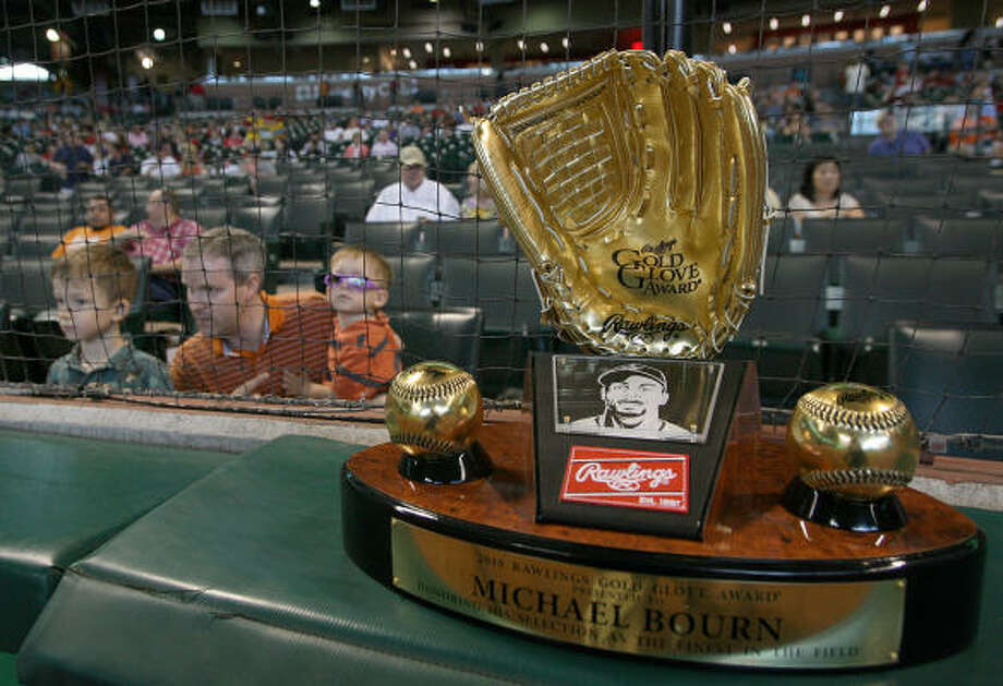 Michael Bourn's 2010 Golden Glove sits on display during warmups. Photo: Thomas B. Shea, Getty Images
