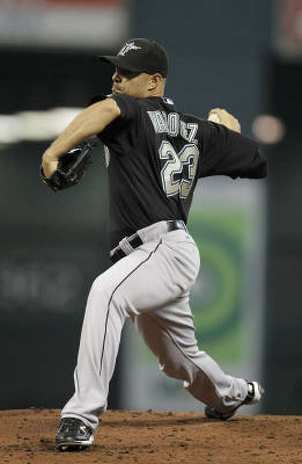 Marlins starter Javier Vazquez struggled early against the Astros. Photo: Karen Warren, Chronicle