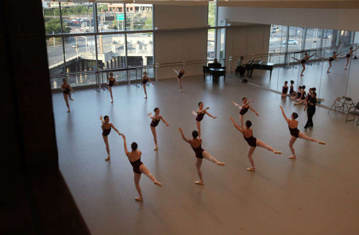 The Houston Ballet's new Center for Dance building has viewing windows into studios.