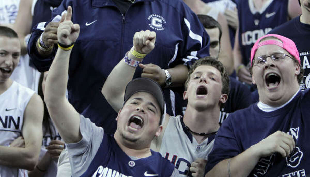 Connecticut fans cheer during the first half of the NCAA National Semifinals against Kentucky.