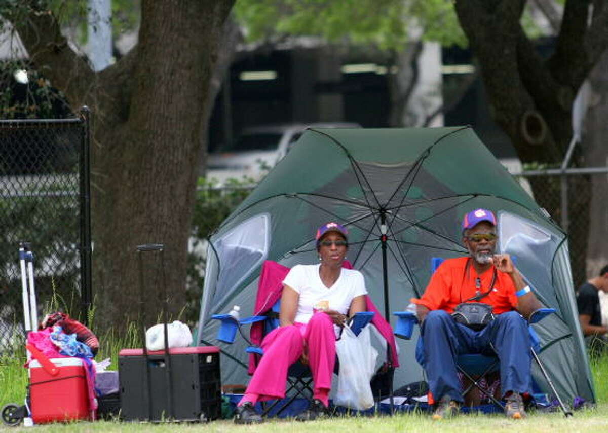 Some patrons came ready to camp out and watch the relays all day.
