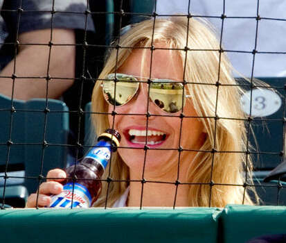 Actress Cameron Diaz takes in a spring training game between the Yankees and the Astros. Photo: David Goldman, AP