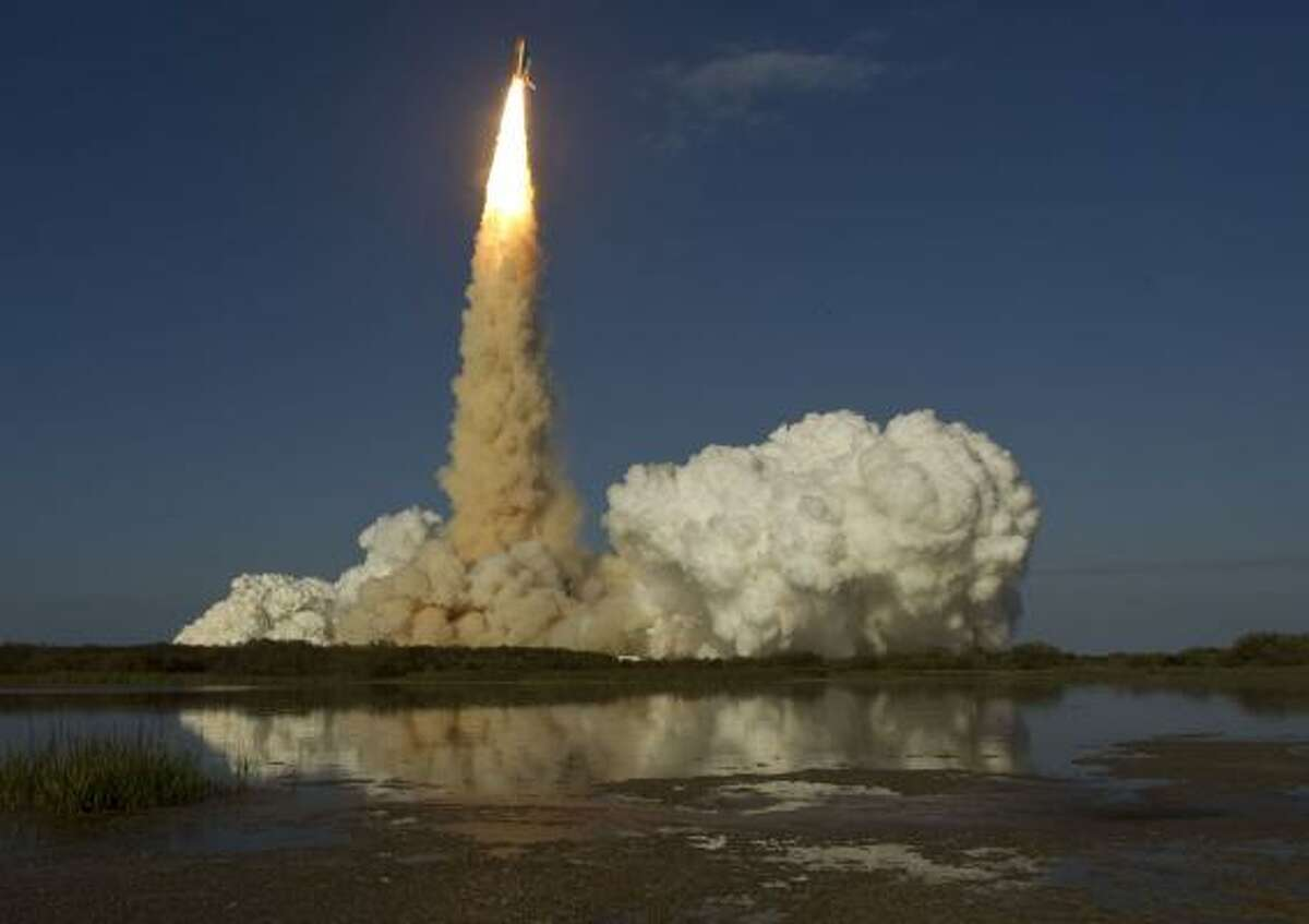 Space shuttle Discovery launches from pad 39A for the STS-133 International Space Station mission and Discovery's final mission at NASA's Kennedy Space Center.