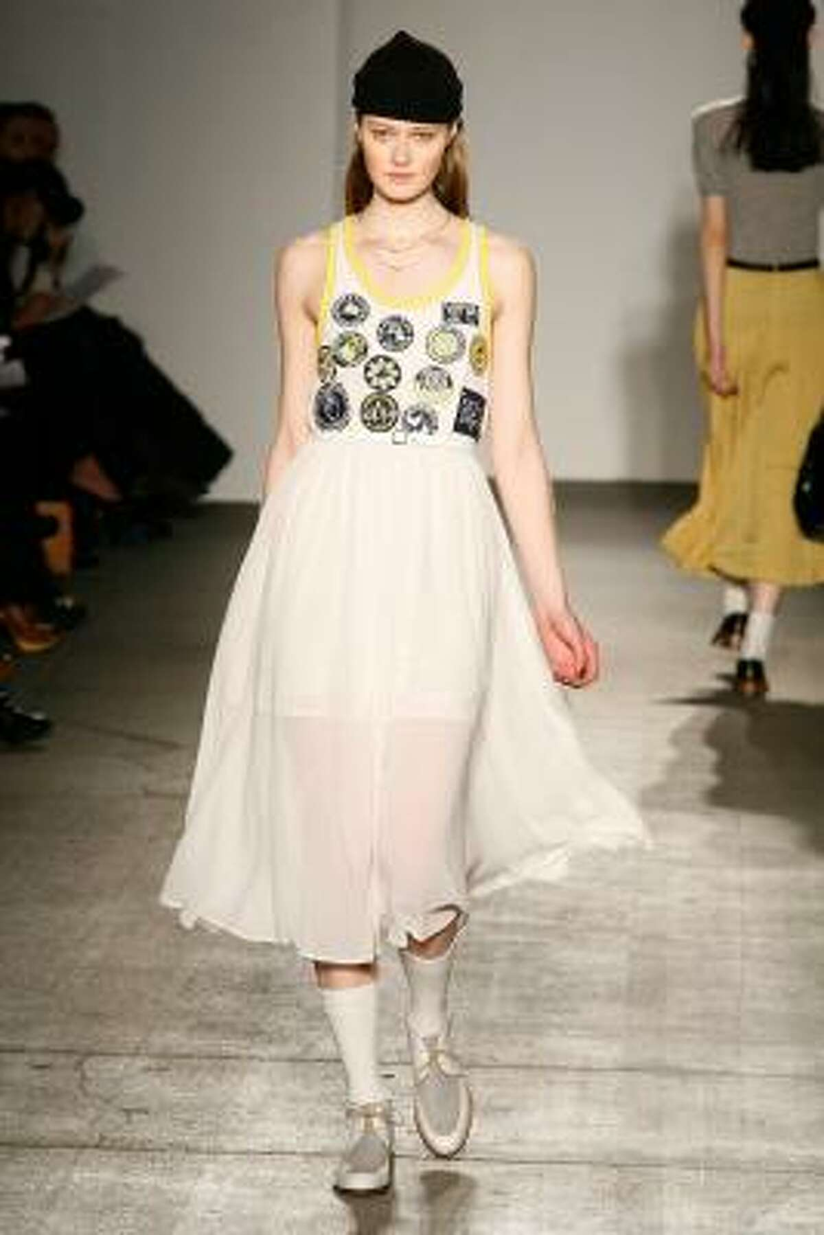 A jumper dress with a little childlike whimsy by Karen Walker