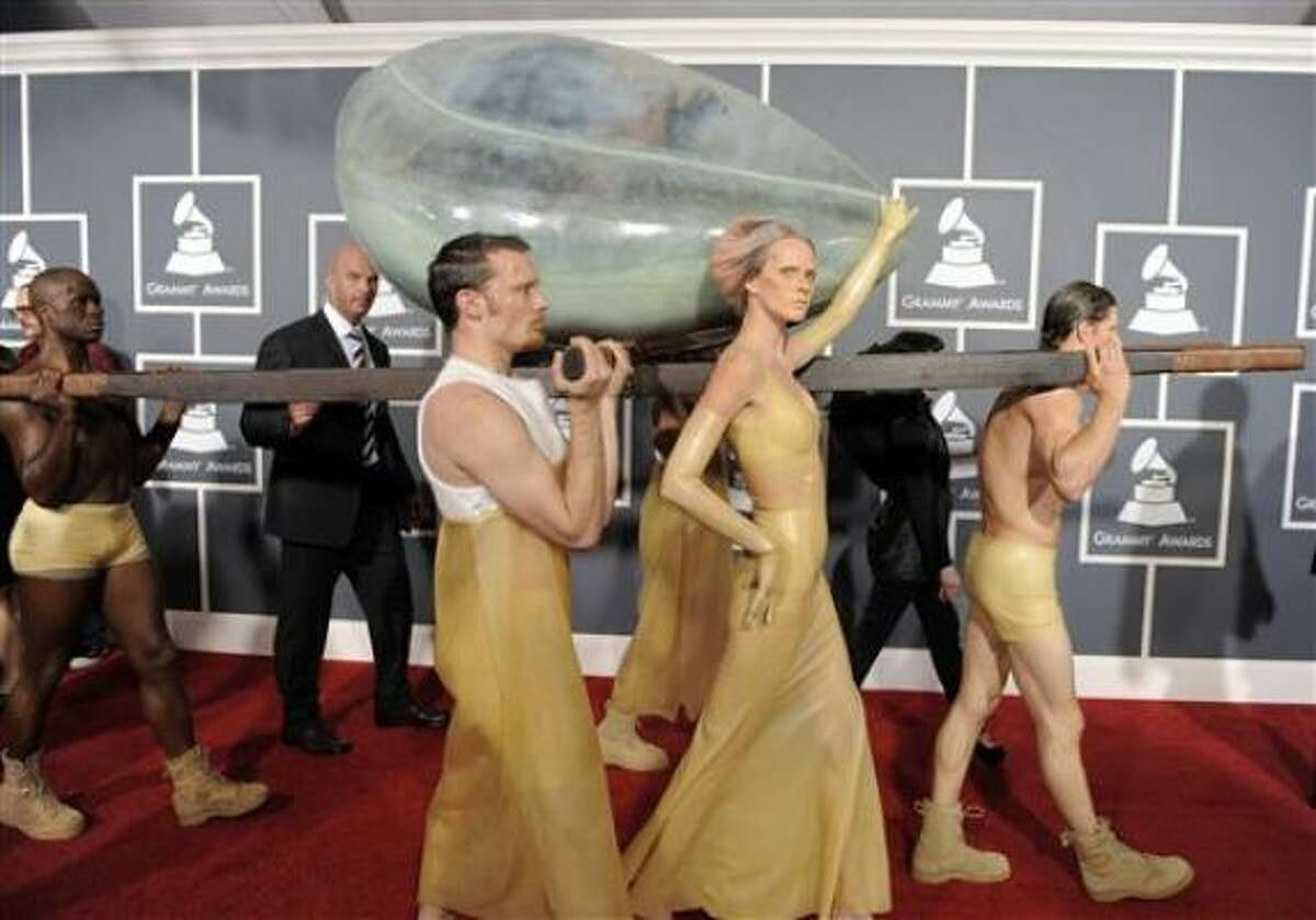 Lady Gaga arrives at the 53rd annual Grammy Awards on Sunday.